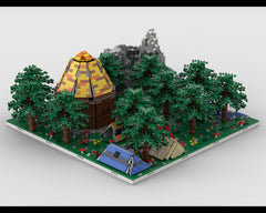 MOC - Modular Tent camp in the woods  build from 4 models