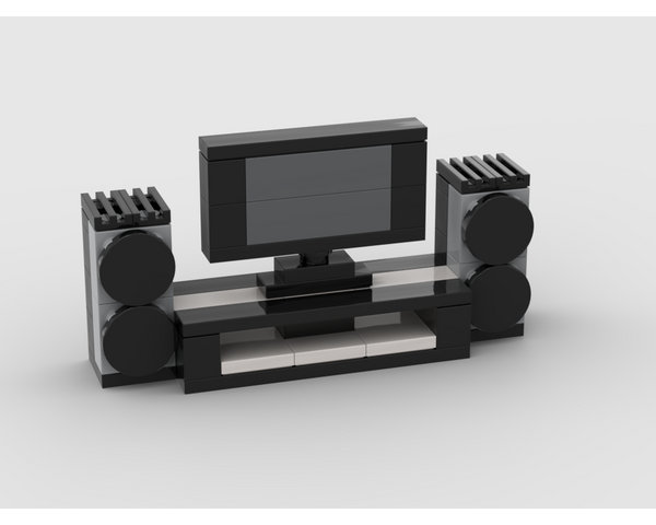 MOC - TV with desk and speakers