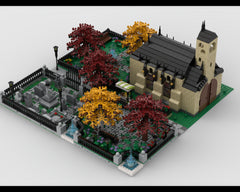 MOC - Modular Church With Cemetery  build from 4 MOCs