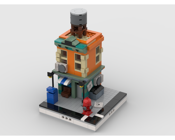 MOC - Neighborhood building with shop for Modular City - How to build it