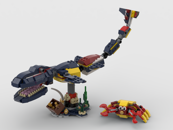MOC - 3 TO 1 Sea Dinosaur Mosasaurus Alternative Build | Build from set 31090 + 31088 + 31102 - How to build it