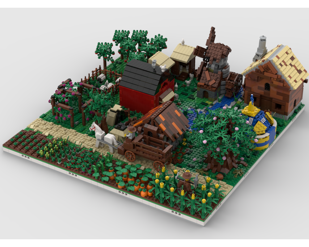 MOC - Modular Farm Village | build from 16 MOCs