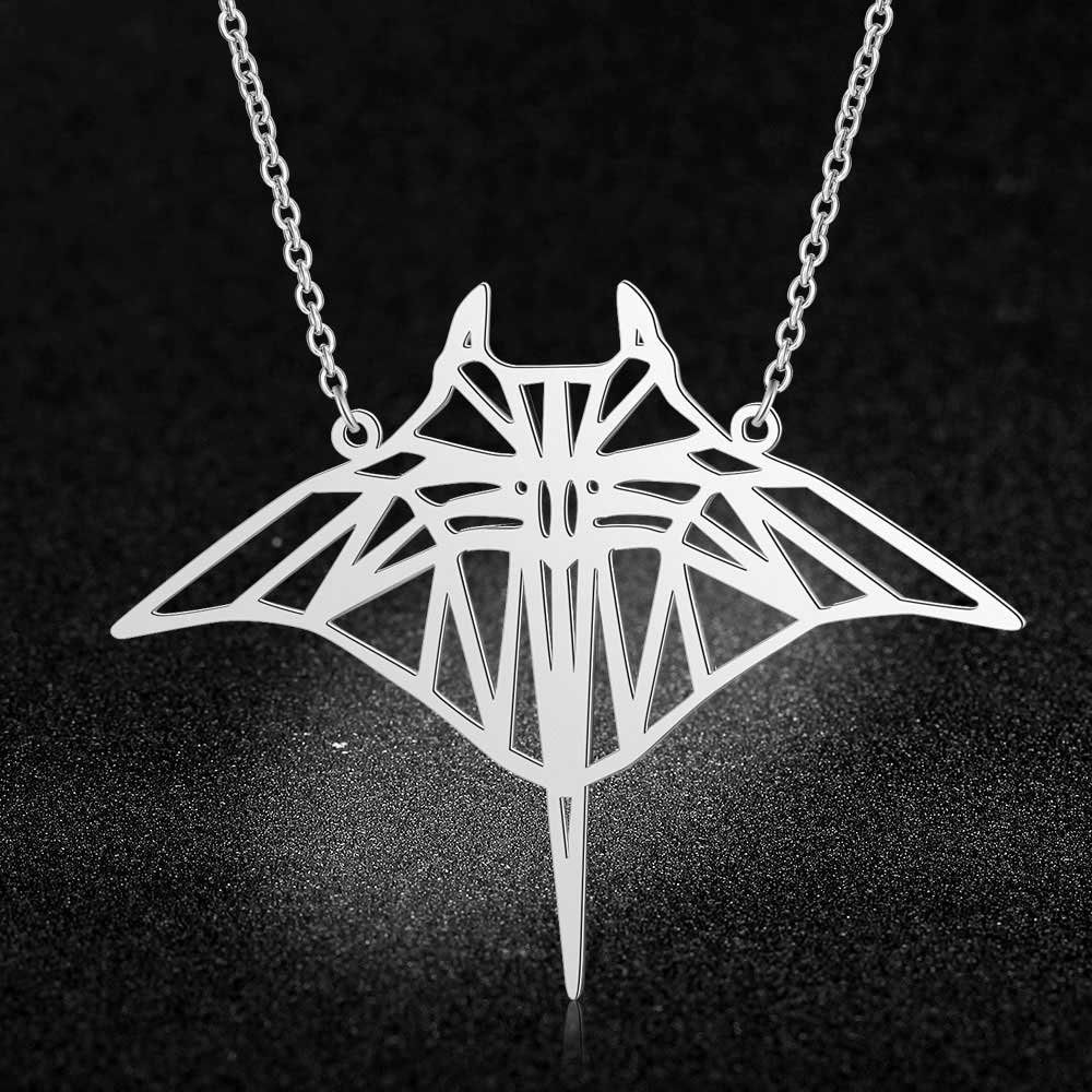 Geometric Manta Ray Stainless Steel Pendant Necklace