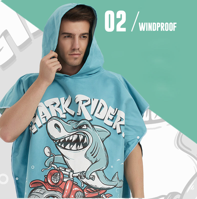 Shark Rider Microfiber Hooded Changing Towel