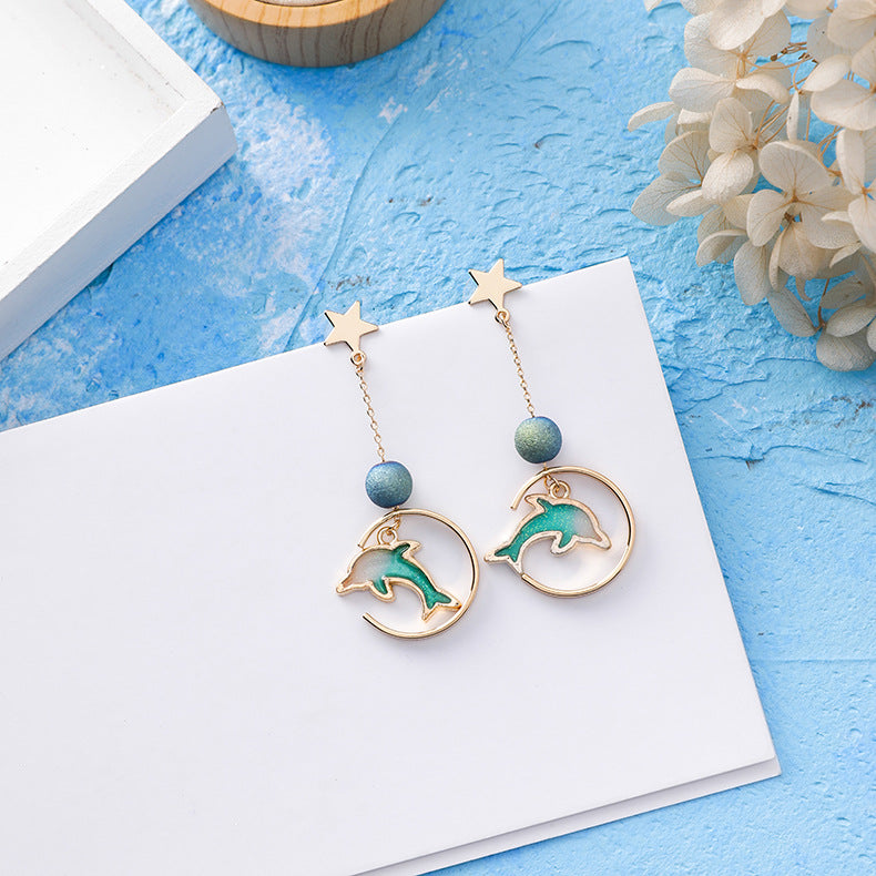 Dolphin Summer Blue Earrings
