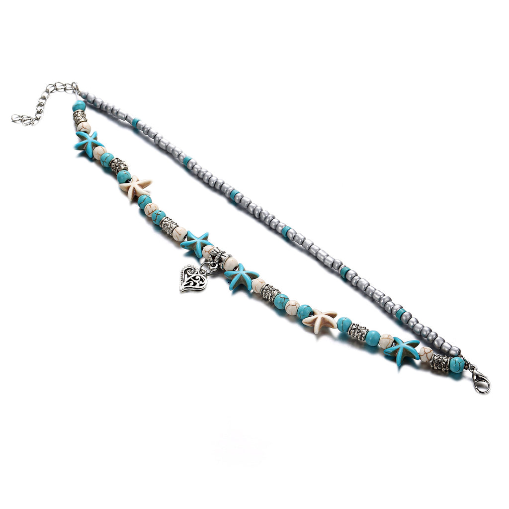 Turtle / Waves Boho Bead Vintage Anklets