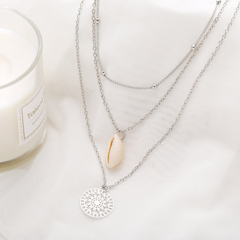 Layered Silver plated Sea Shell Necklace