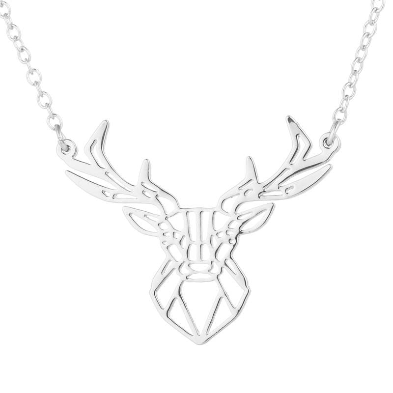 Geometric Deer Stainless Steel Animal Pendant Necklace