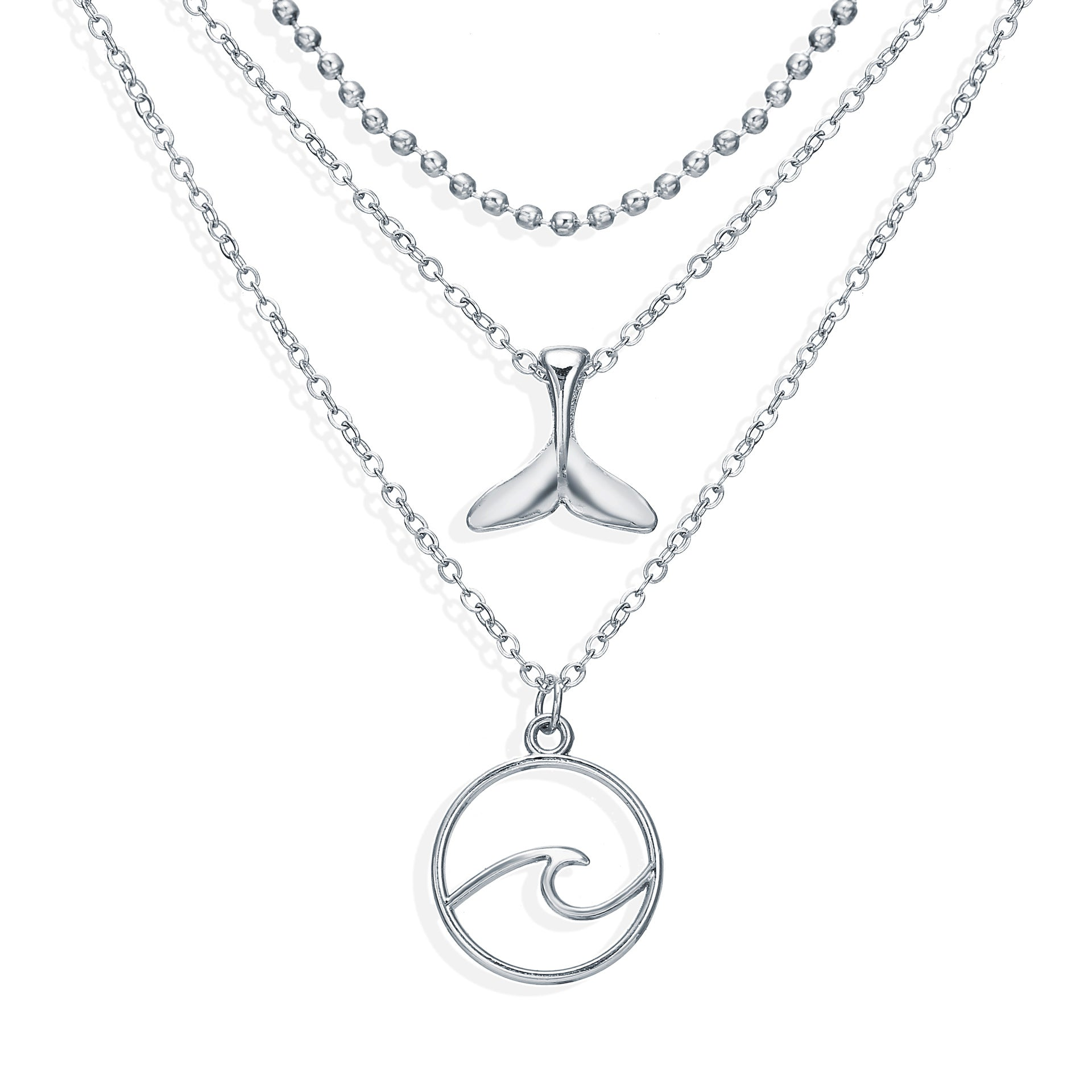 Wave Whale Tail Multilayered Necklace