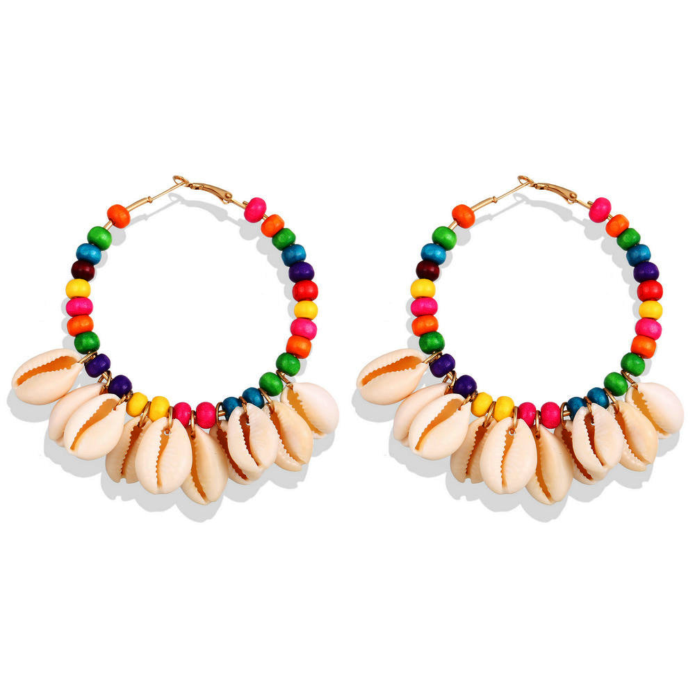 Sea Shell Colorful Beaded Hoop Earrings