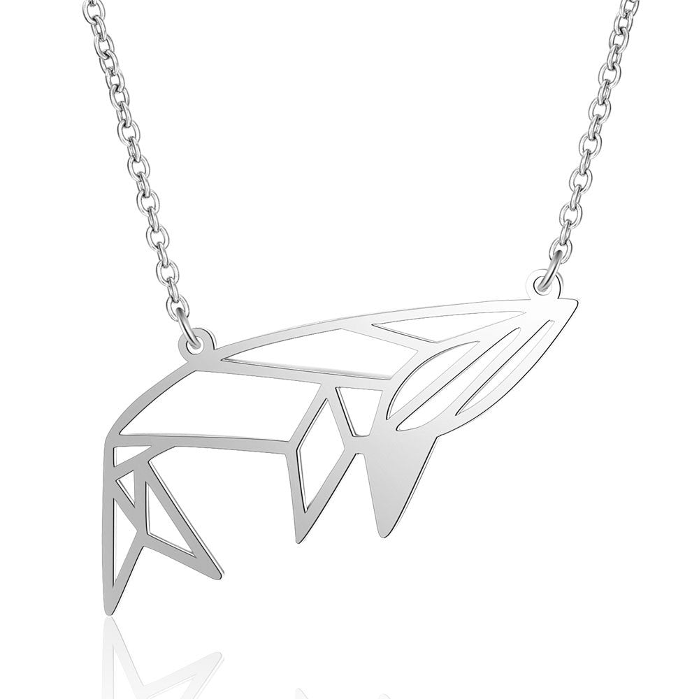 Geometric Whale Stainless Steel Pendant Necklace