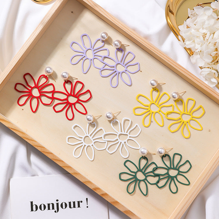 Colorful Large Flower Earrings