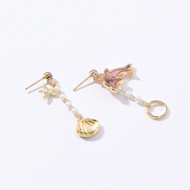 Sweet Dolphin Beach Dangle Post Earring