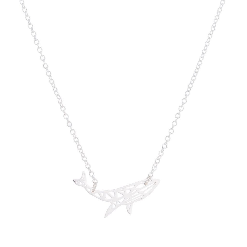 Small Geometric Whale Stainless Steel Pendant Necklace