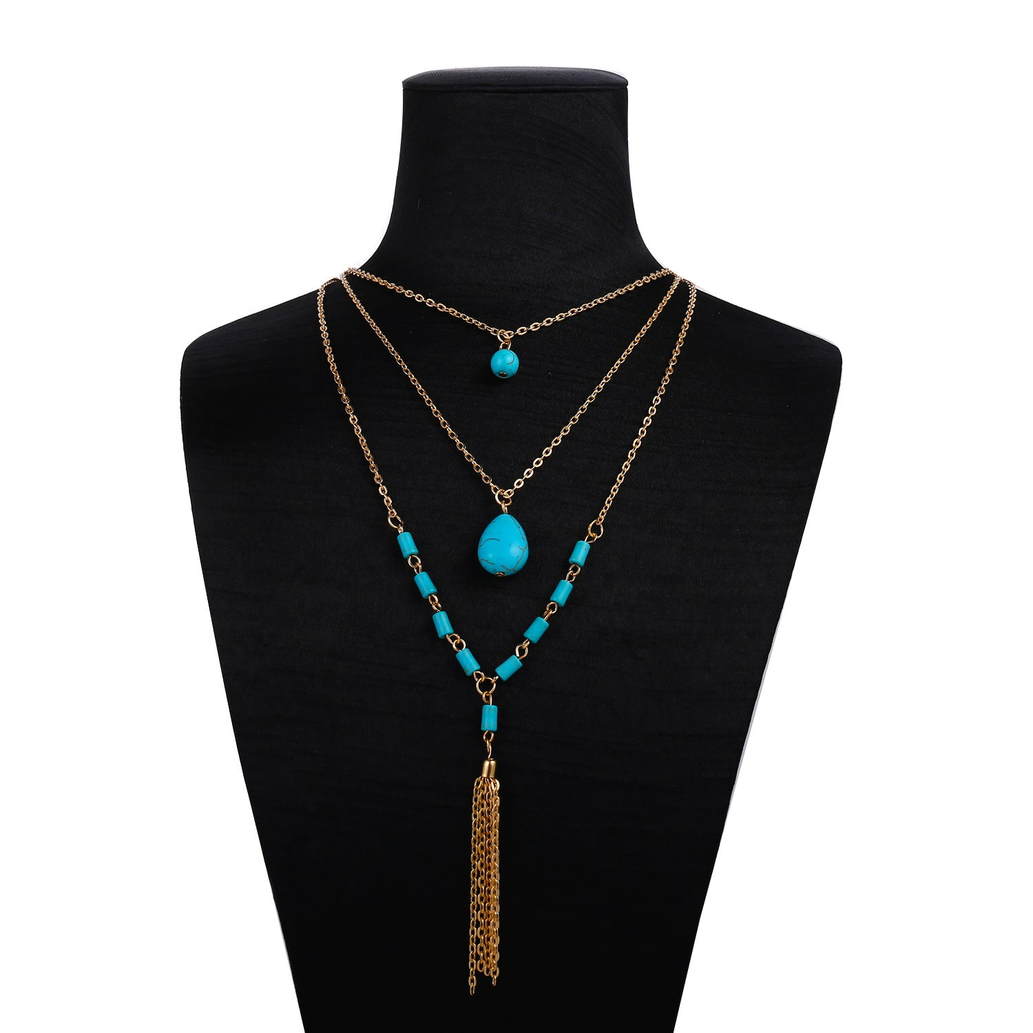 Layered Turquoise Metal Tassel Necklace