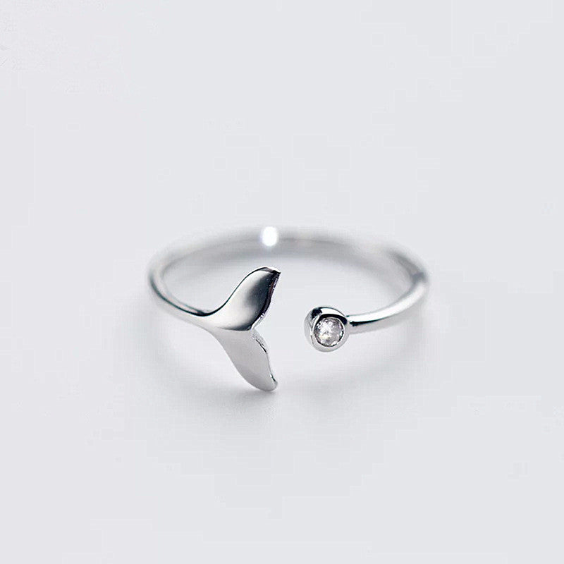 S925 Silver Mermaid Tail Cuff Rings