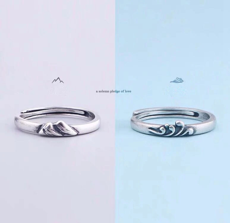 S925 Silver Sea & Mountain Couple Rings