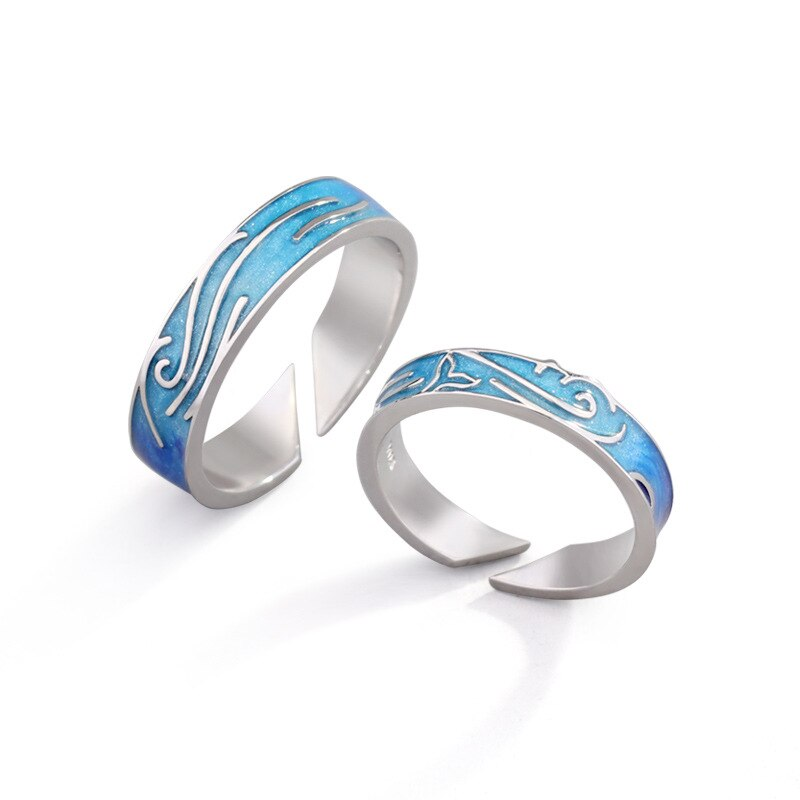 S952 Silver Love in the Deep Blue Couple Rings