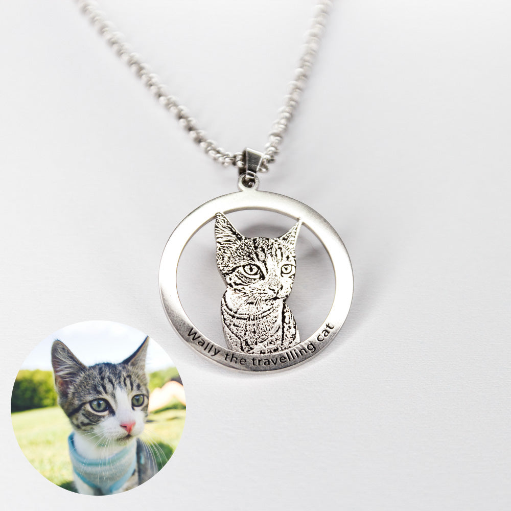 Personalized Sterling Silver Engraved Photo Necklace