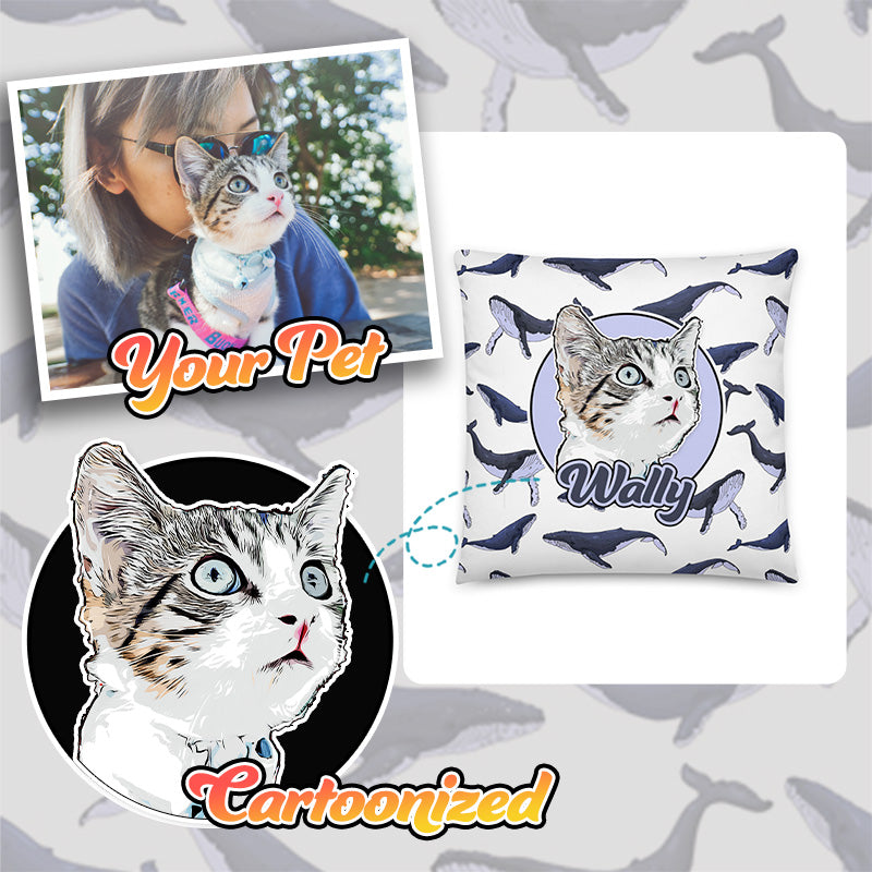 Personalized Pet Print Patterned Throw Pillow