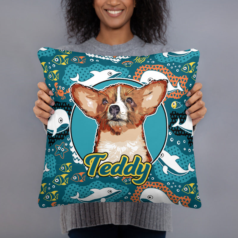 Personalized Pet Print Patterned Pillow Case