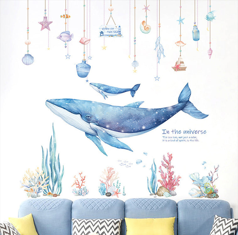 Whales in the Coral Sea Wall Decor