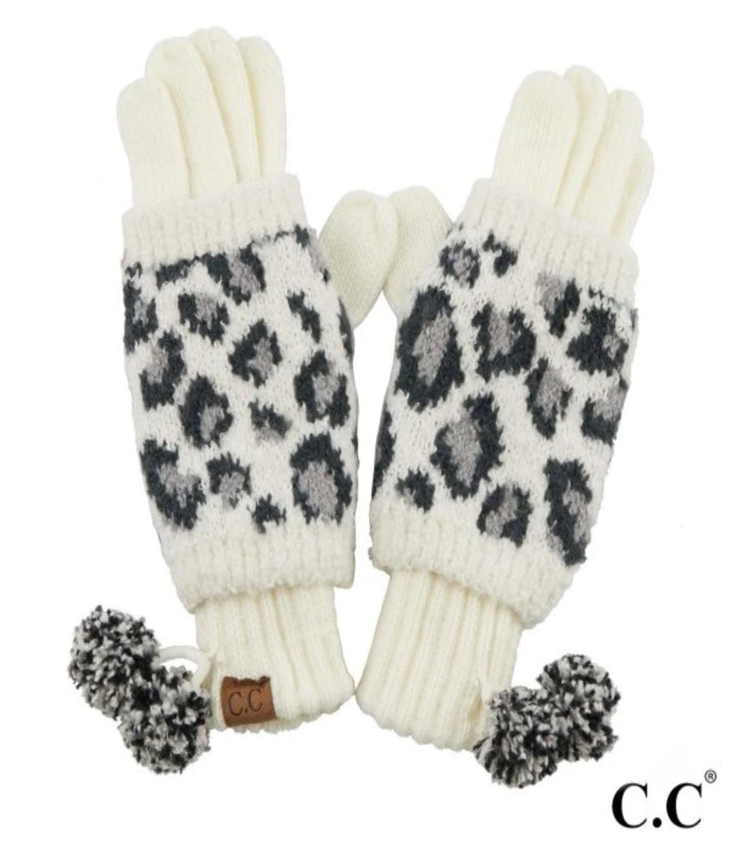 Leopard Jacquard Knit Gloves