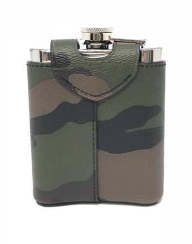 Coach Beverage Flask With Camo Green Multi PVC Leather Cover F32440 $95