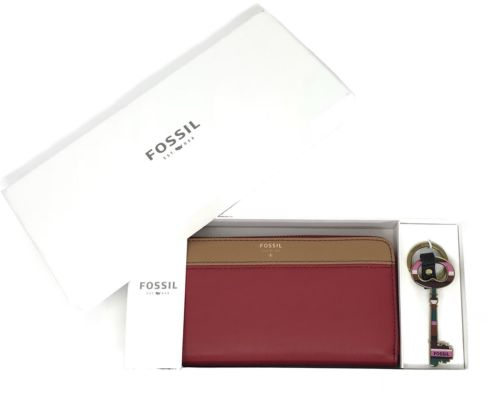 Fossil Brenna Leather Zip Cutch & Keyfob Gift Set SWL1786995 Women's Wallet $98