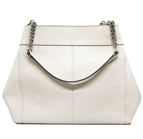 Coach Lexy Chain Shoulder Bag With Floral Tooling Chalk Leather F25894 $395