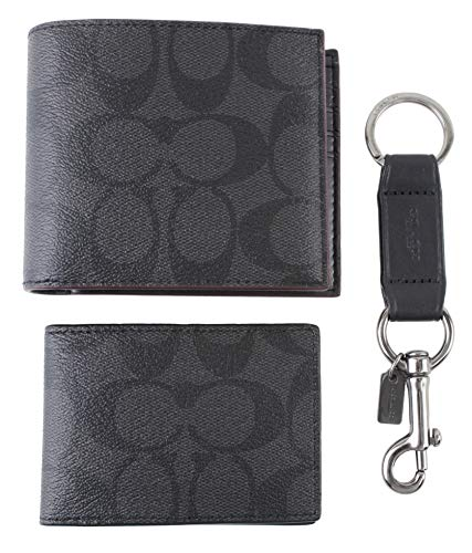 Coach Men's 3 in 1 Wallet With Coach Signature Print Gift Set, Style F41346, Black