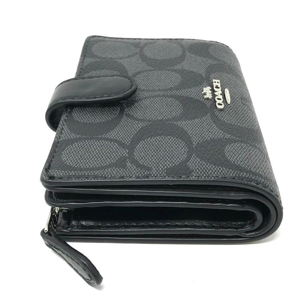 Coach Medium Corner Zip Wallet In Signature PVC Black/Smoke F23553 $165