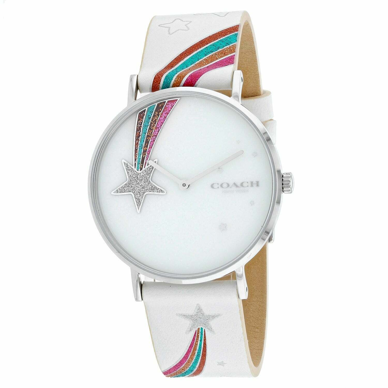Coach Perry Ladies Analog Casual 38mm Rainbow colored Band 14503040 $125