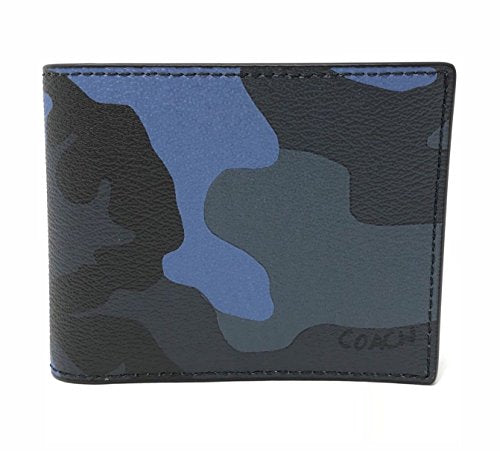 Coach F32438 Men's 3 In 1 Camo Blue Dusk Multi Compact ID Wallet