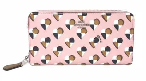 Coach F25962 Accordion Zip Wallet With Checker Heart Print Pink Blush $250