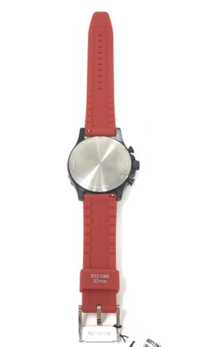 Fossil Nate Black Dial Men's Chronograph Watch Red Strap C221026 $100