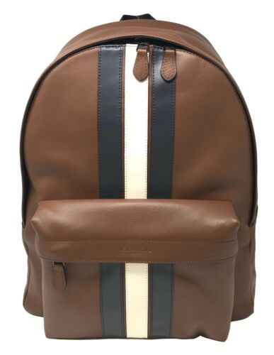 Coach Men's Charles Backpack Saddle/Navy Leather with Varsity Stripe F23214 $550