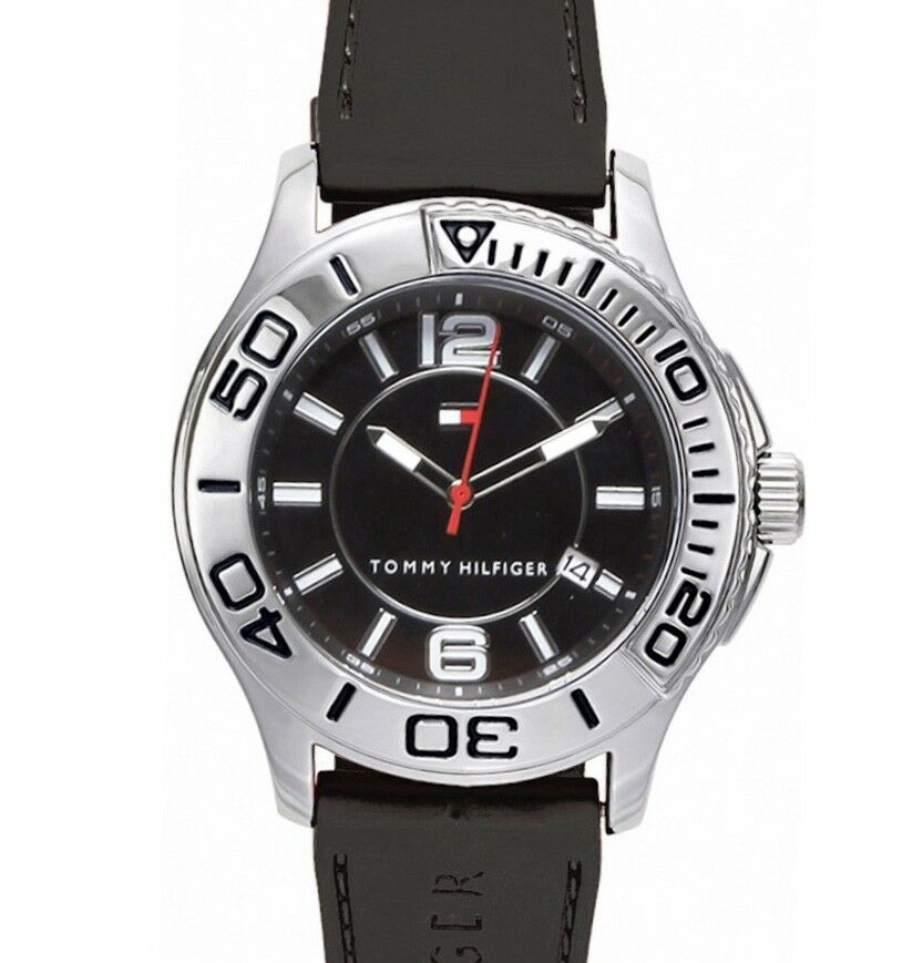Tommy Hilfiger Men's Watch Steel Black Rubber 1790954 $100