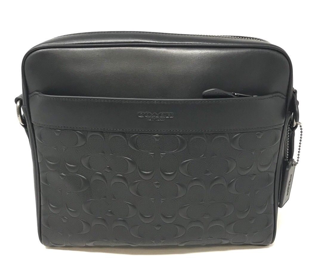 Coach Men's Charles Camera Crossbody Bag In Black Signature Leather F28455 $375