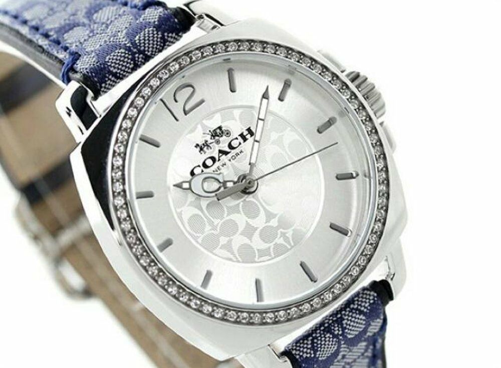 Coach Boyfriend Signature Blue Leather Fabric Monogram Glitz Watch 14502417 $225