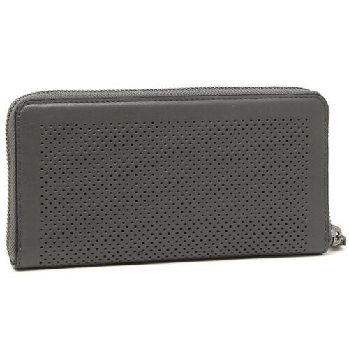 Coach Men's F58104 Accordion Zip Around Perforated Leather Graphite Wallet $250