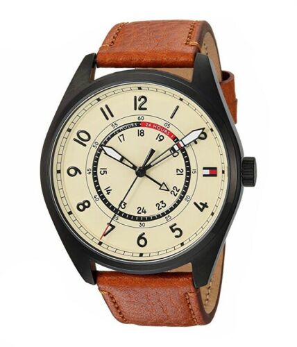 Tommy Hilfiger Mens Dylan Dial Brown Leather Strap Cream Watch 1791372