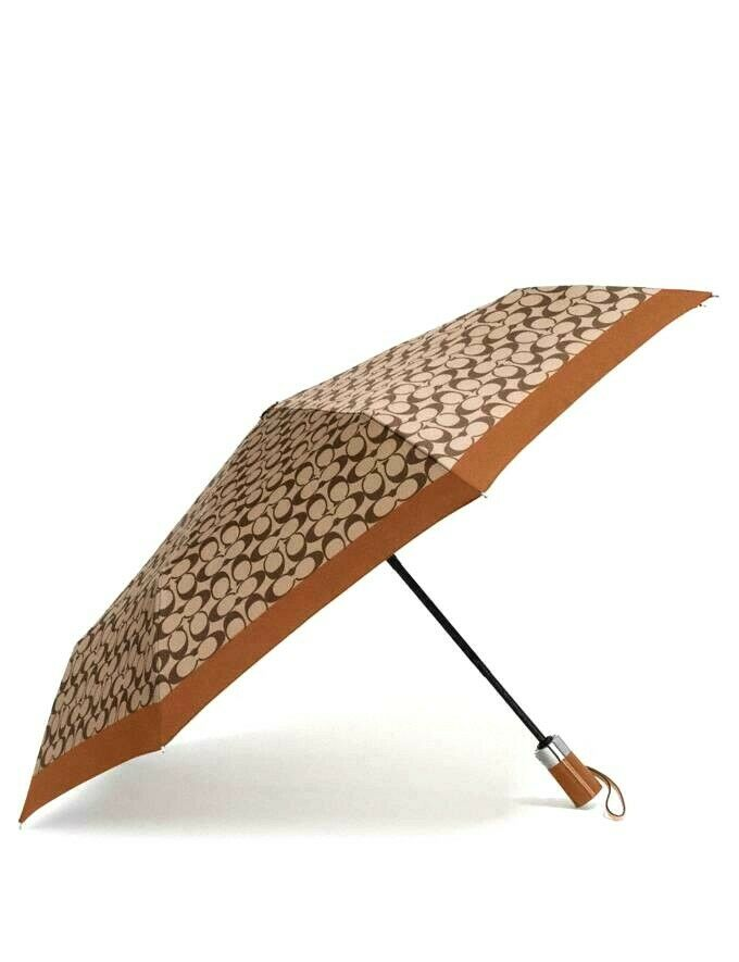 Coach F63365 Signature Mini Umbrella Black Khaki Nylon $68