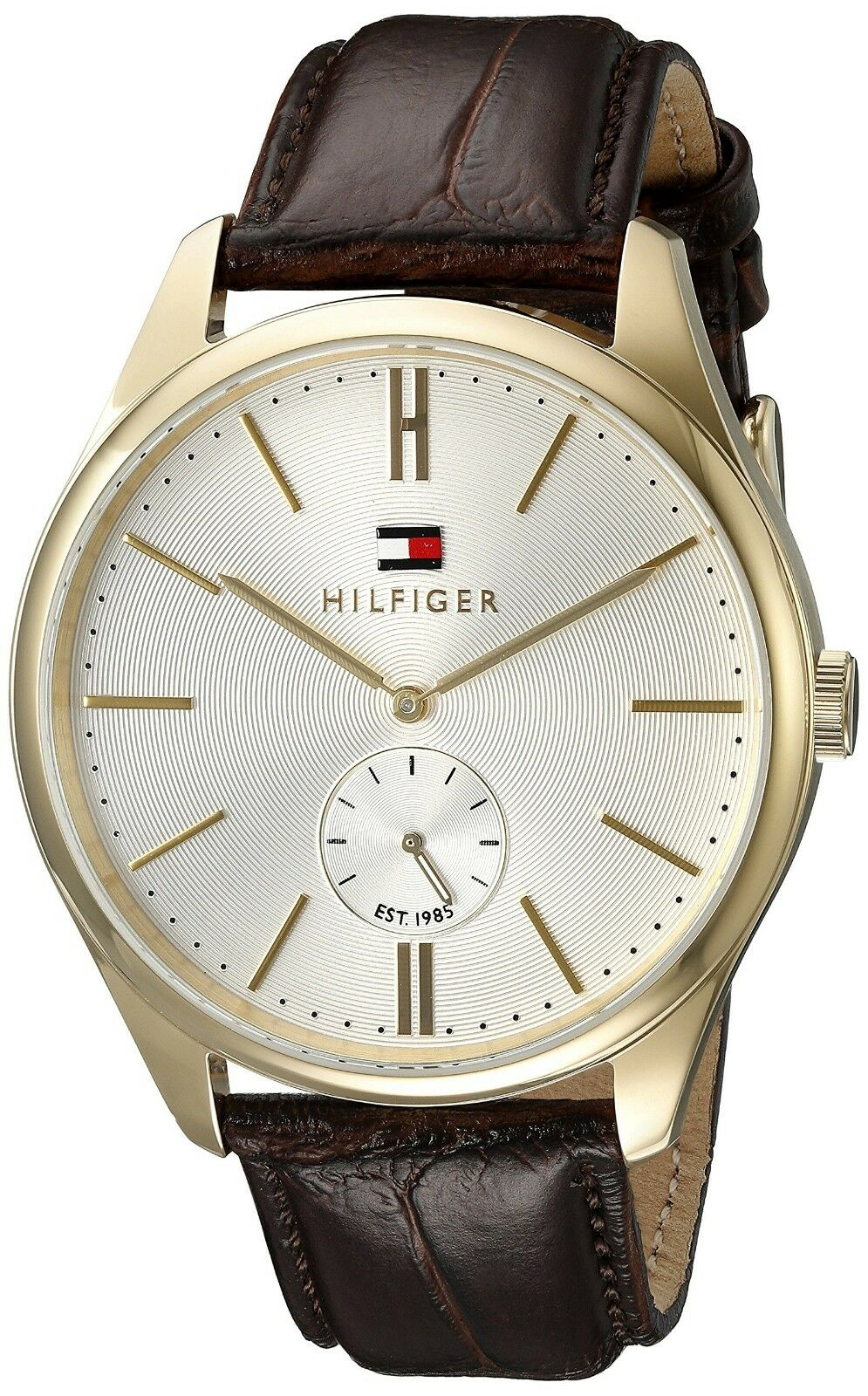 Tommy Hilfiger Men Curis Sub-Dial Brown Leather Watch 44mm 1791170 $145