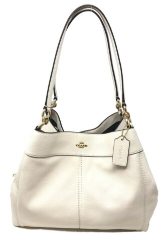 Coach Lexy Shoulder Bag Chalk Pebble Leather Tote Hobo Bag F28997 $395