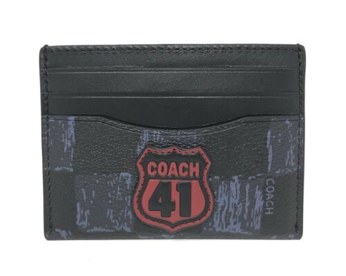 Coach F26947 Men's Midnight Navy Multi Checker ID Card Case Wallet $125