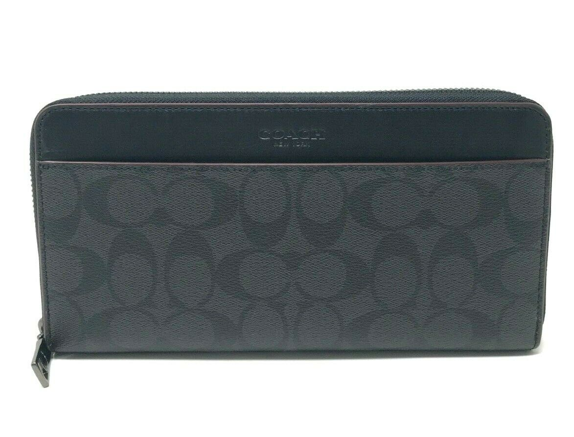 Coach Men's Travel Wallet Leather Black Organizer Zip Around Wallet