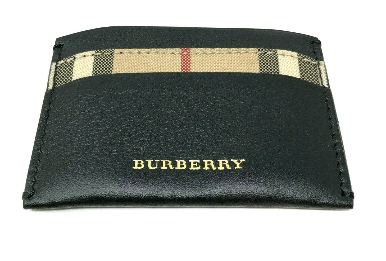 Burberry Men's Horseferry Check Izzy Black Leather Card Case Wallet