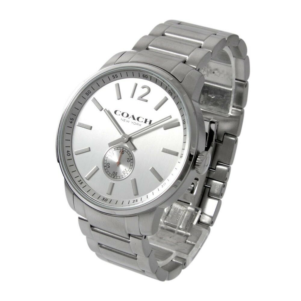 Coach Men's Bleecker Silver Stainless Steel Bracelet Watch 46mm 14602077 $325