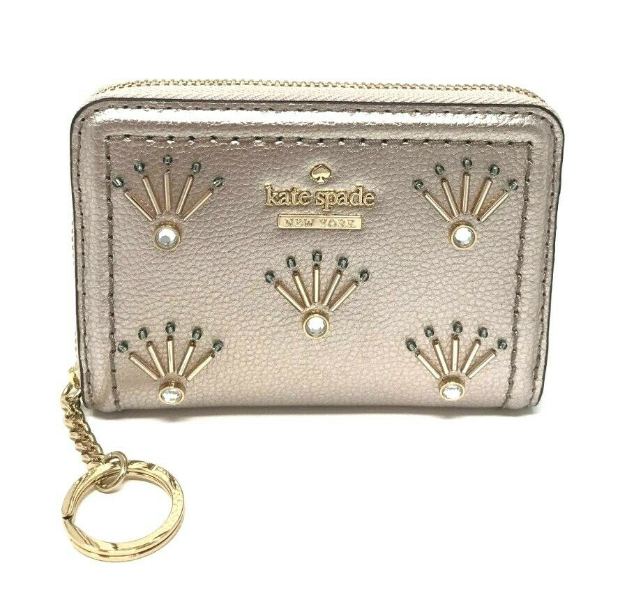 Kate Spade Dani Patterson Drive Embellished Metallic Blush Wallet WLRU5222 $129